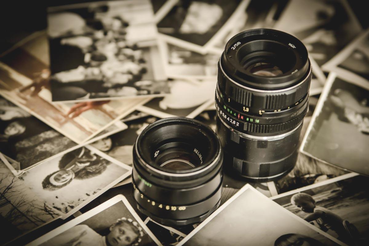 Oude foto's en camera lenzen.